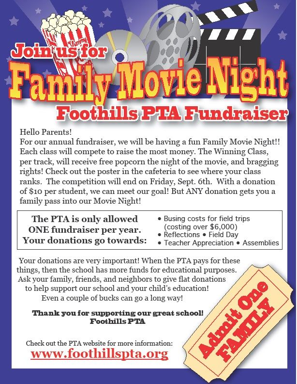 foothills elementary pta  movie night  our pta fundraiser