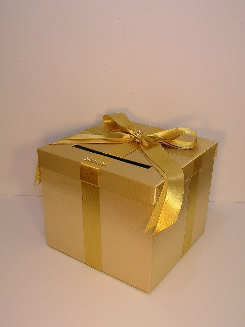 Gold Wedding Reception Gift Card Holder : Gold Wedding Card Box Gift Card Box Money Box Holder-Customize your c ...