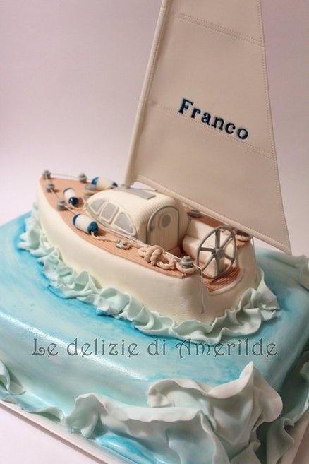 Sailing boat Cake..love the wake.