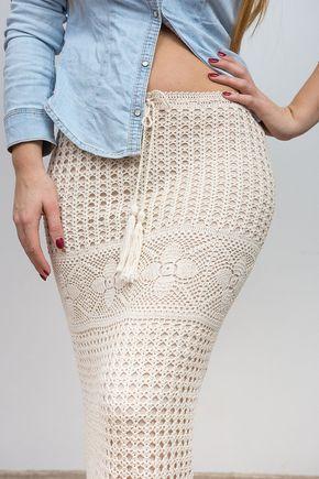 Encaje de Maxi falda beige Boho ganchillo por CrochetAndPassion