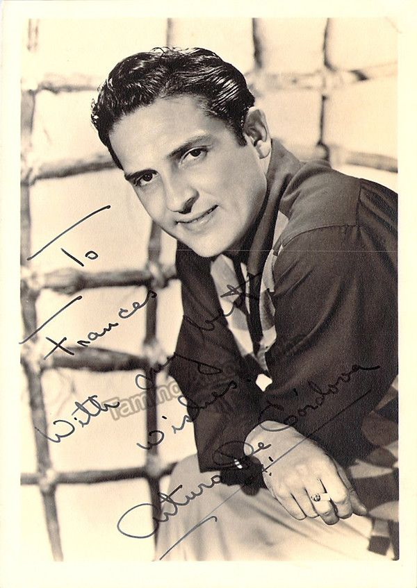 Mexican film actor (1908-1973) who participated in over 100 films. Signed photo, shown young, inscribed, 5 x 7 inches, in excellent condition