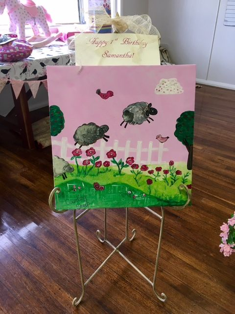 """Canvas painted especially for lamb themed 1st Birthday Party. """"Counting sheep"""""""