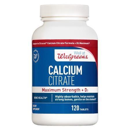 Walgreens Calcium Citrate Maximum Strength + D3, Tablets - 120 Ea