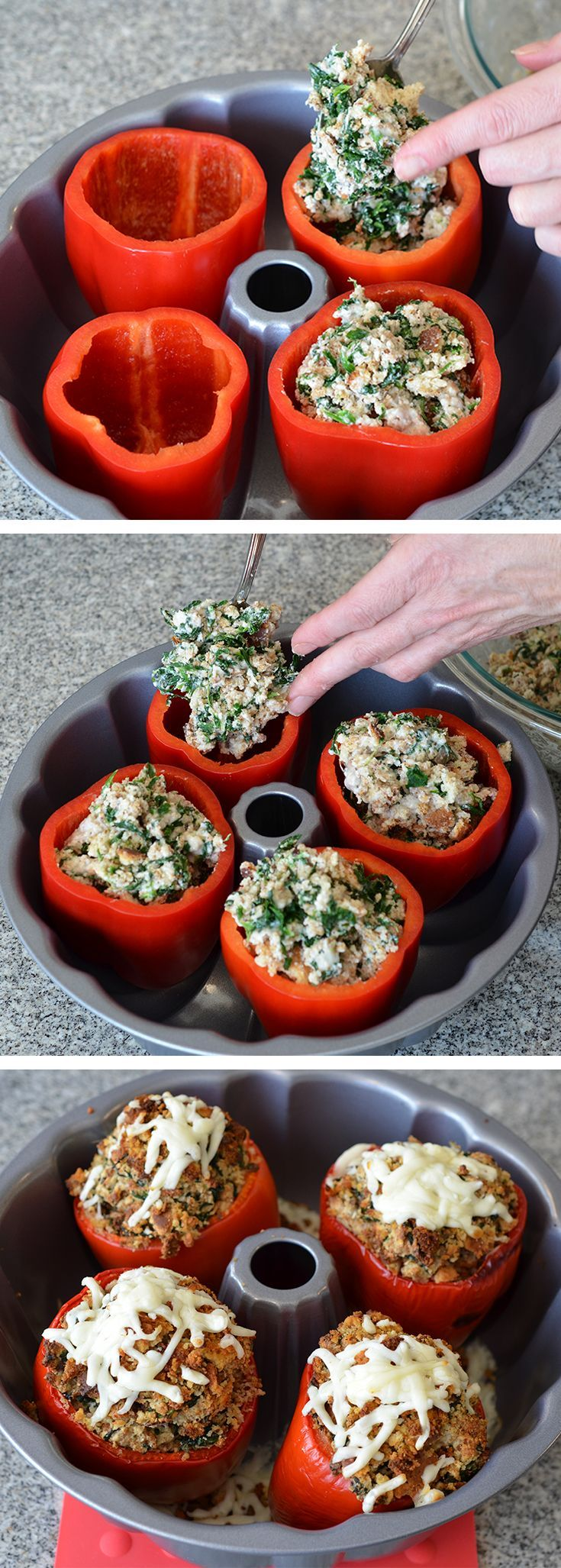 Cooking Tip: Arrange stuffed bell peppers in a bundt or tube pan for baking. They'll stay upright and won't tip over as easily!