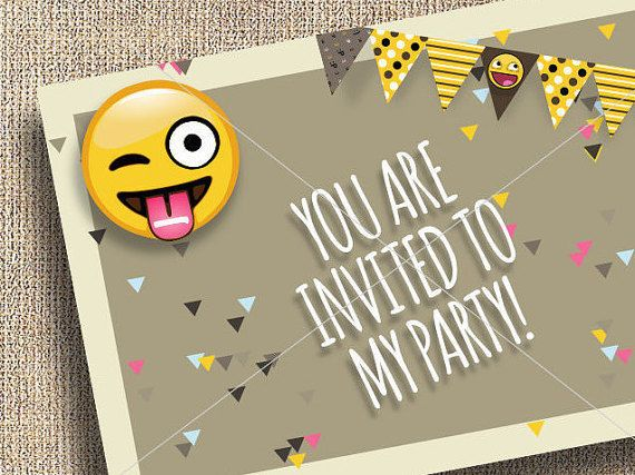 Emoji Party Invitation Thank You Blank Cards For Invite Inviting Thanking Guests Instant Download Printable PNG Smilies Face