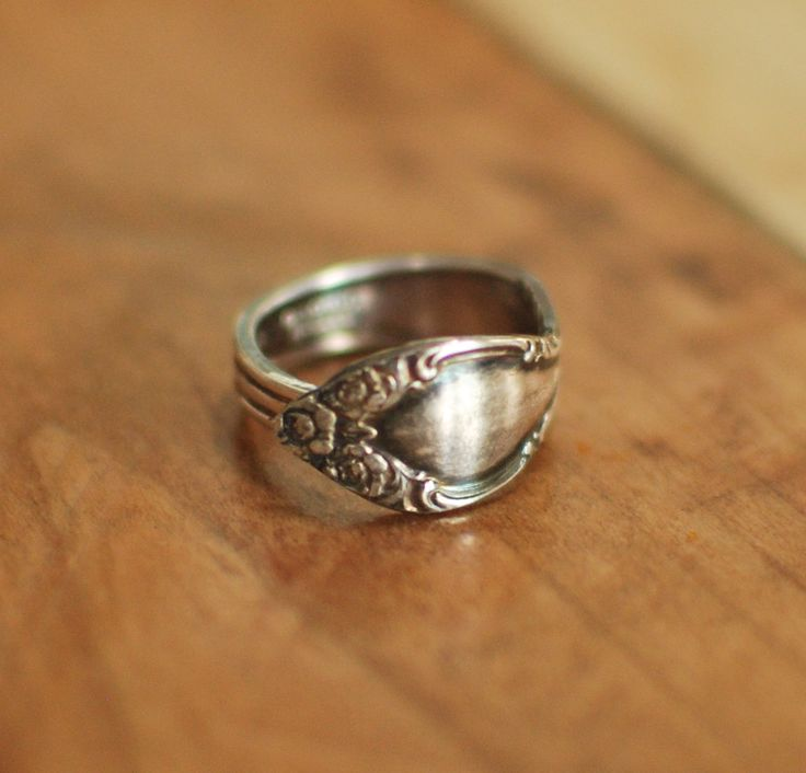 Awesome Silver Plated Spoon Ring Midi Ring Mid Knuckle Ring Original Flower