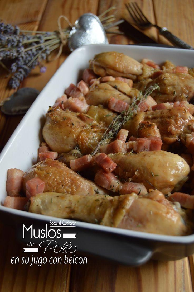 Ingredientes para 4 personas:     8 muslos de pollo.     200 gr. de beicon.     200 ml. de caldo de carne.     1 cucharada de tomillo.  ...
