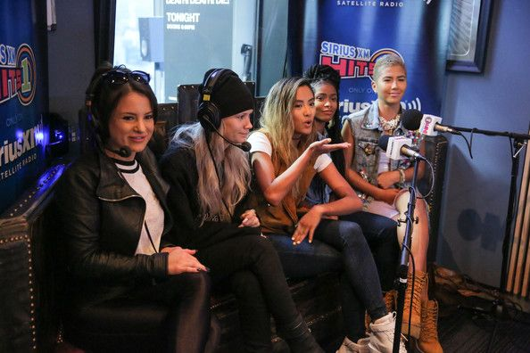 (L-R) Singers Natasha Slayton, Lauren Bennett, Emmalyn Estrada, Simone Battle and Paula van Oppen of G.R.L.