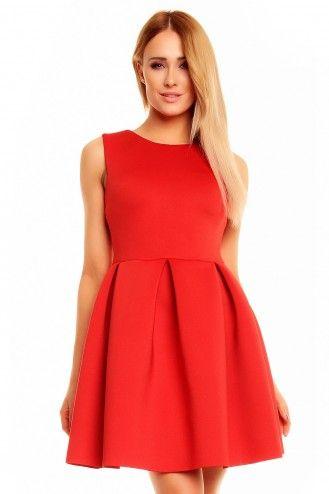 Rozkloszowana sukienka bez rękawów czerwona KM140-1
