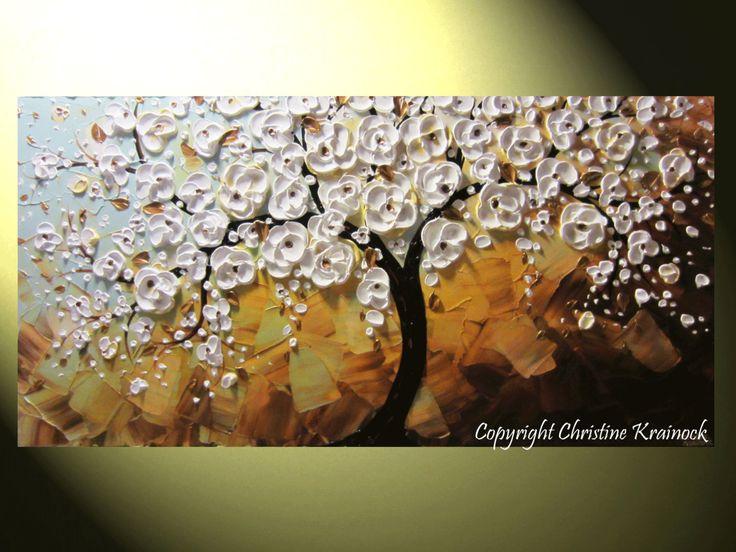 CUSTOM Art Abstract Painting White Cherry por ChristineKrainock