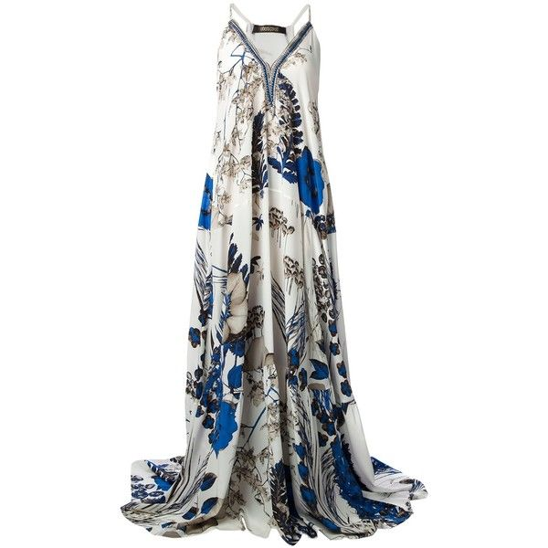 polyvore.com Multicolour silk floral print gown from Roberto Cavalli featuring spaghetti straps, a v-neck, pleated details and a flared style.