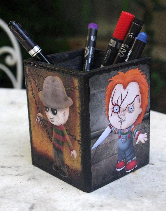 Barca per matite - mostri classici della 80 versione fumetto-Chucky, Freddy Krueger e Pinhead, Critter