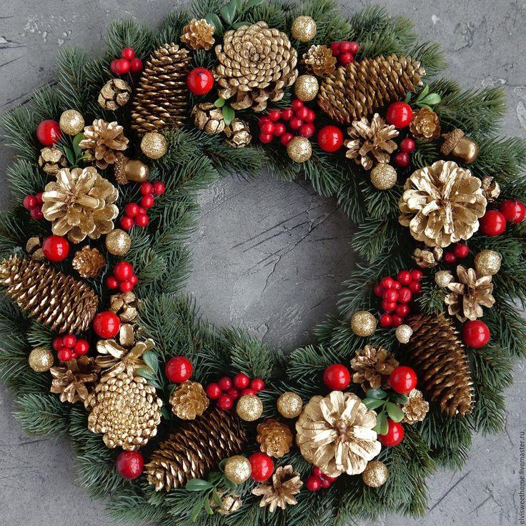 """Купить Новогодний венок """"Хохлома Золотая"""" - комбинированный, новогодний подарок, новогодний венок"""