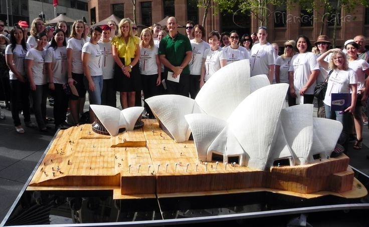 Worlds Largest Sydney Opera House Cake by Planet Cake. Weight: 1.3 tons, took 30 people 5 Days to make, Chocolate Cake and Ganache with Fondant Icing for Australia Day celebrations 2011. YouTube videos @  www.planetcake.com.au