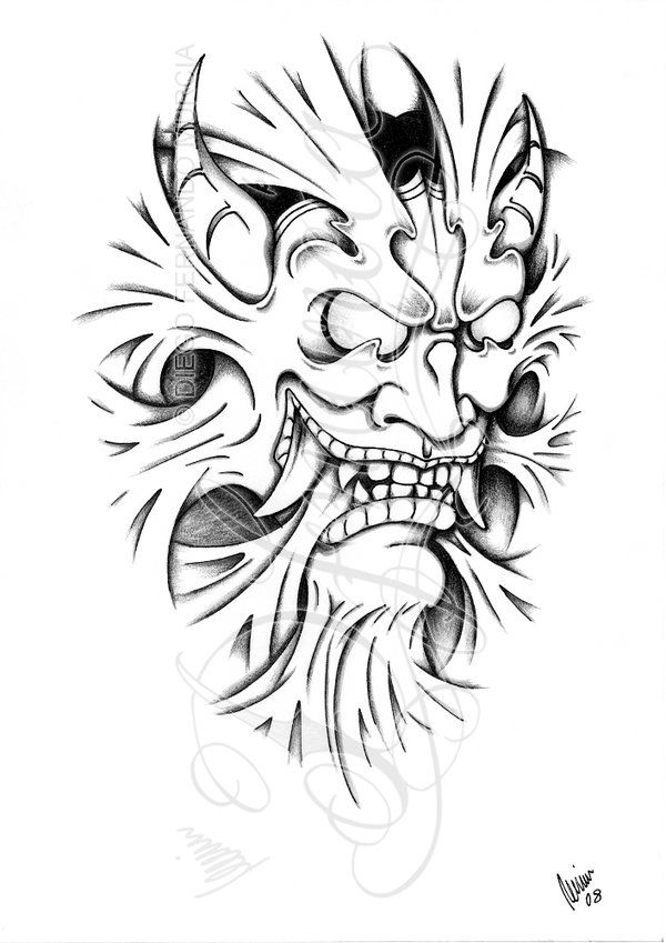 2008, A4 pencil on a printed copy A view of the inner demon, who tries to come out of us The Flash of this tattoo is available on Create My Tattoo TATTOO WORK by ~bAAAjk based on this design LINE W...