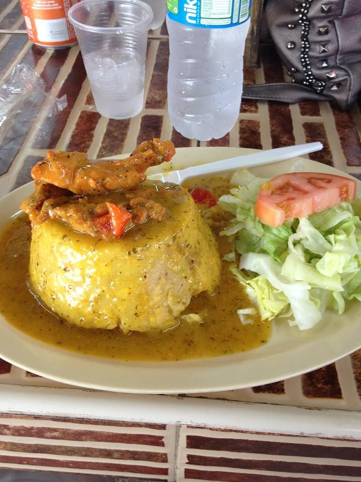 Mofongo Relleno con Pollo - Smashed Plantain stuffed with chicken with a garlic butter sauce