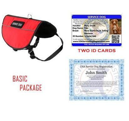 Service Dog Basic Package (Service Dog Vest, 2 ID Cards & Digital Certificate Bundle and Save $40)