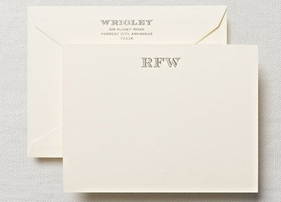 Letterpress Monogram on Tiverton Correspondence Card: Correspondence Cards, Correspond Cards