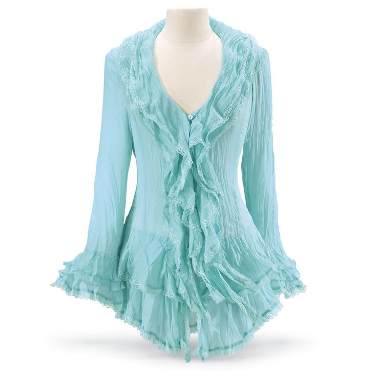 Turquoise Tiered Blouse - Women's Clothing & Symbolic Jewelry – Sexy, Fantasy, Romantic Fashions