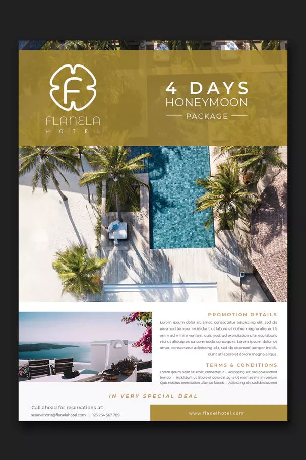 Luxury Hotel Flyer Template InDesign INDD \u2022 Easy Customization and