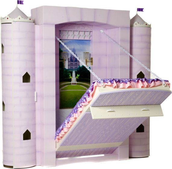 A castle-themed murphy bed straight out of a fairy tale.
