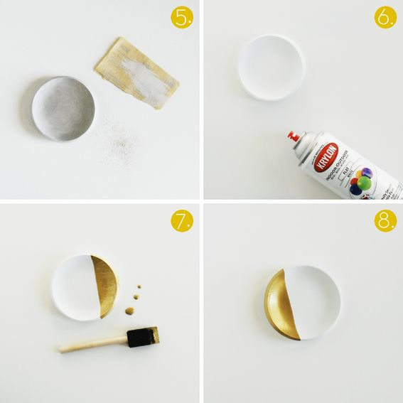 pretty neat idea, how to make air dry clay look like porcelain, and paint it with gold or neon for a hipster look.