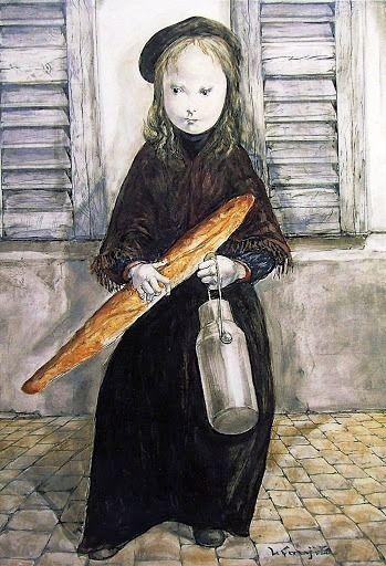 レオナール・フジタ「朝の買い物」(1962)