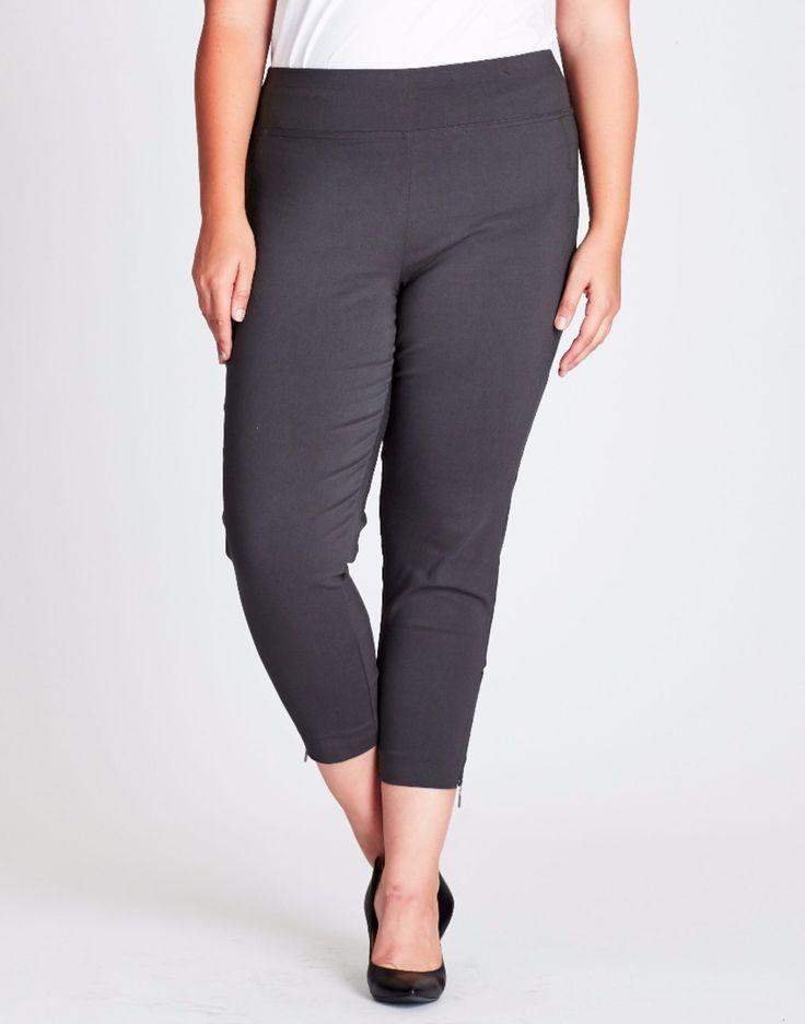SUPER STRETCH CROP PANTS _ Charcoal grey