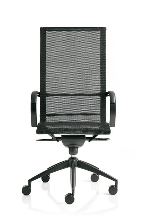 #emmegi #emmegiseating #EM203 ##office Its elasticized mesh and transpiring quality create a soft light contour, which easily adapts to body movements.  EM202 mesh can be upholstered with STRICKTEX, the fire-retardant elasticized mesh with customised design for the EM202 chair