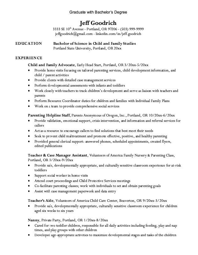 graduate bachelor degree resume  httpexampleresumecv