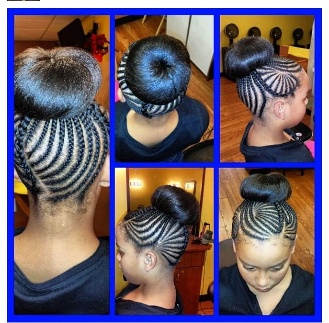 Natural kids hair...braids/bun