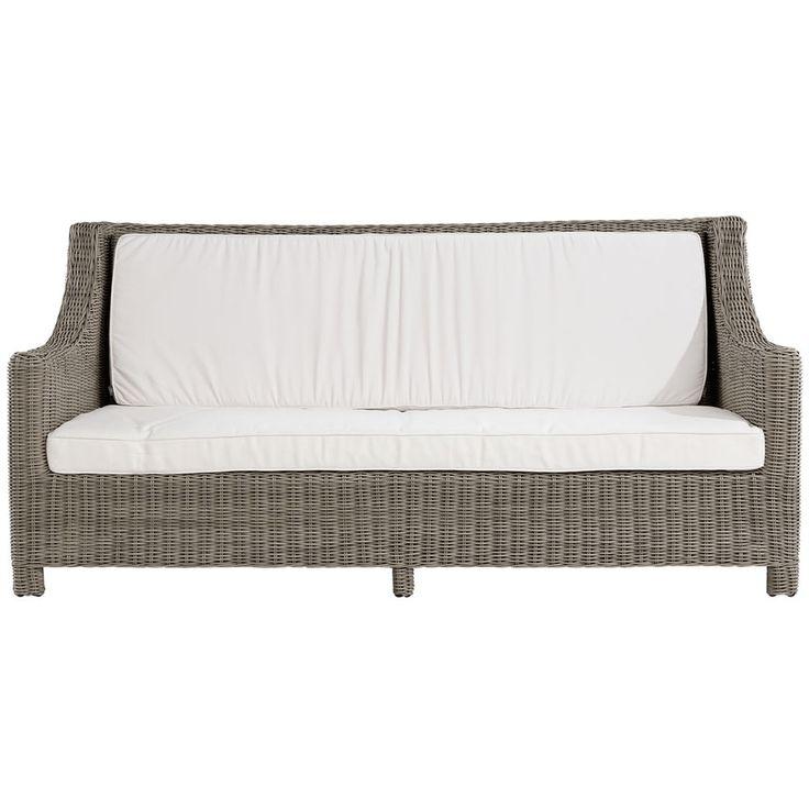 Maple är en soffa från Artwood i grå väderbeständig konstrotting med en stomme av aluminium. Vita dynor med avtagbar klädsel i 100 % polyester ingår, kemtvätt rekommenderas. Dynstoppning av en polyeterkärna med svept fiber och riven polyeter. Mått: Bredd 212 cm, Djup 98 cm, Höjd 100 cm, Sitthöjd 46 cm
