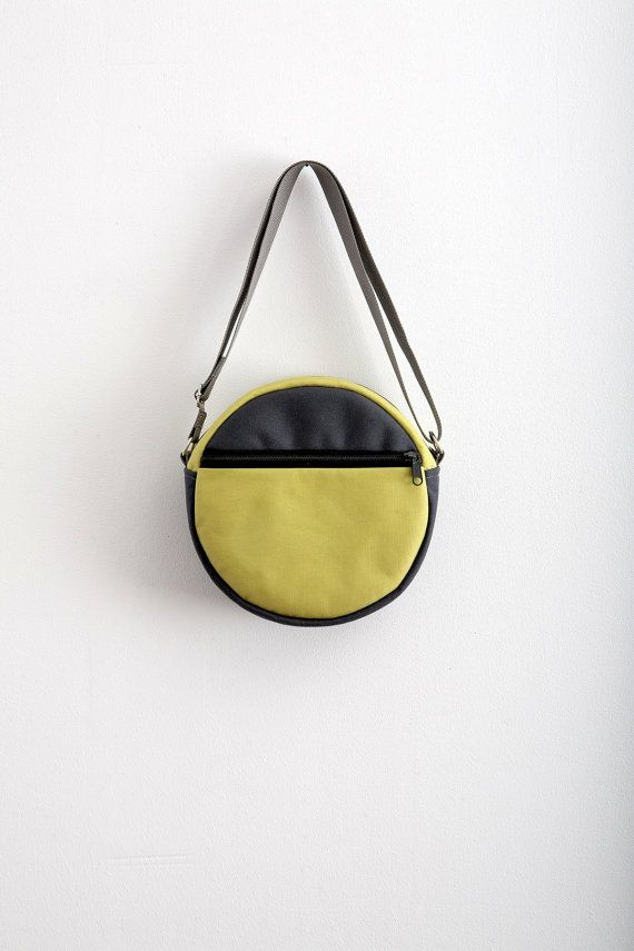 Round Bag Purse Grey Neon Green Bag Hipster Bag Cross by Marewo