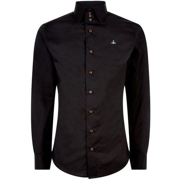 Vivienne Westwood Stretch Cotton Shirt ($325) ❤ liked on Polyvore featuring men's fashion, men's clothing, men's shirts, men's casual shirts, men, men wear, shirts, black, guy shirts and mens holiday shirts