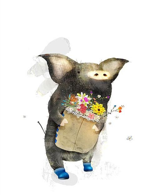 a piggy with a bag of flowers and blue booties, how could I not pin this!