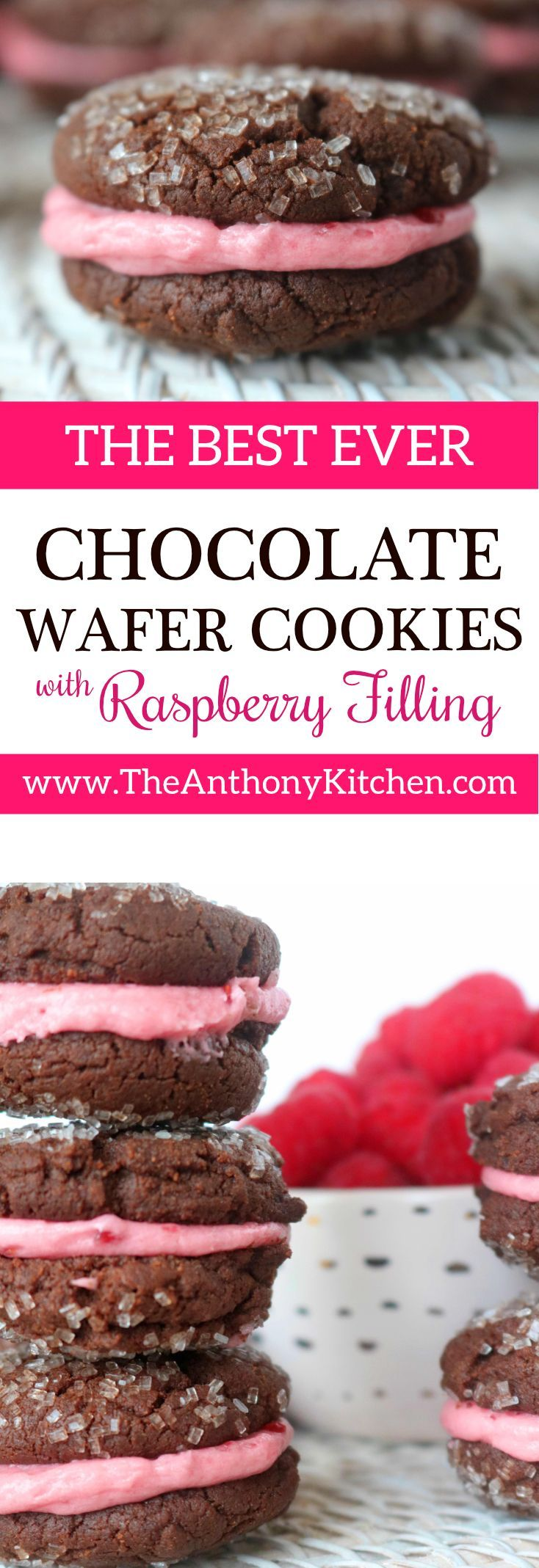 Chocolate Valentines Cookie Recipe | A homemade chocolate sandwich cookie with easy raspberry icing | #homemadevalentinescookies #chocolatesandwichcookie #valentinestreat