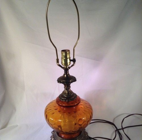 Vintage Mid Century Modern MCM 1960s 1970s Amber Glass Hollywood Regency  Lighted Base Lamp Table Lamp