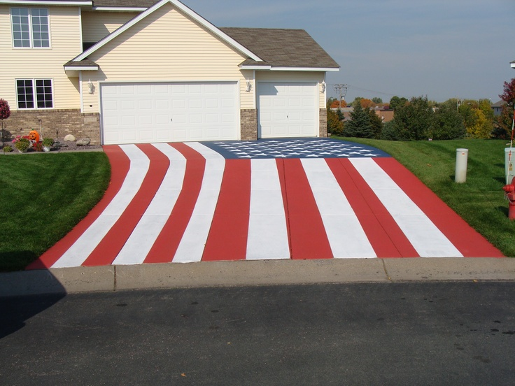 If only we could all be this patriotic this concrete for Acid wash concrete driveway