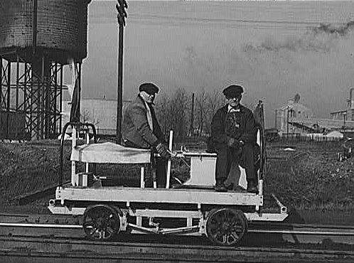 * Hand Car * 1943.  Indiana Harbor Belt Line Railroad Yard.