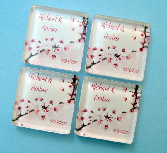 Cherry Blossom Wedding Favor Magnets - Personalized 1 Inch Square Magnets - 50 Favors