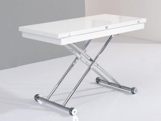 Tavolo rialzabile e allungabile STRETCH - Da 4 a 8 coperti - MDF laccato bianco