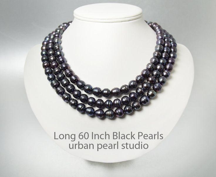 Long Black Pearl Necklace - 60 Inch Pearl Necklace Single Strand or Multi Strand Long Pearl Necklace BP423