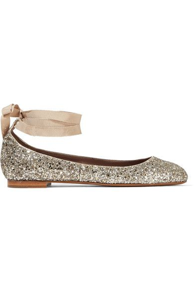 Tabitha Simmons - Daria Lace-up Glittered Leather Ballet Flats - Silver - IT