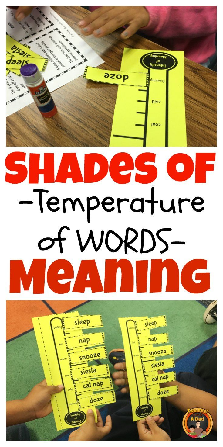 Shades of meaning is an abstract vocabulary concept relating to the nuance of word meanings.  Why do authors choose certain words? With this activity, students build a thermometer of words nuance or shades of meaning.  Provided stories provide context to understand the synonyms used.  Come check out the preview!