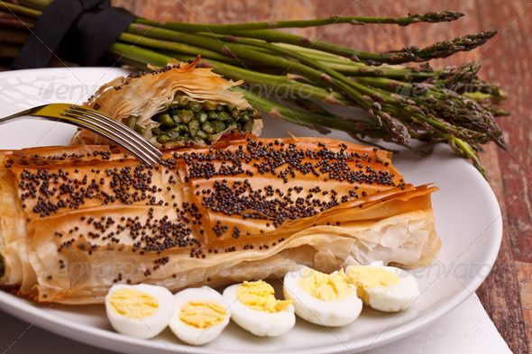 Stock photo for sale at Photodune: Asparagus In Crust With Poppy Seeds And Quail Eggs