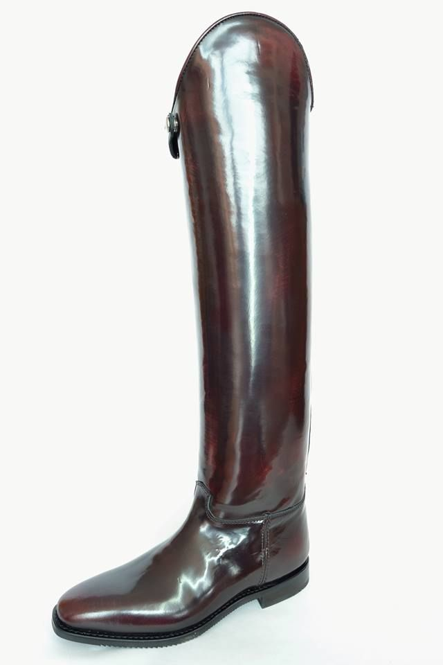 Custom made to measure red wine dressage boot for equestrians.