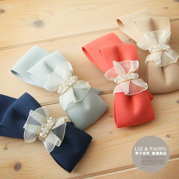 法國夾 緞帶紗網蝴蝶結半寶石