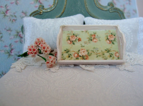 miniature shabby chic floral tray