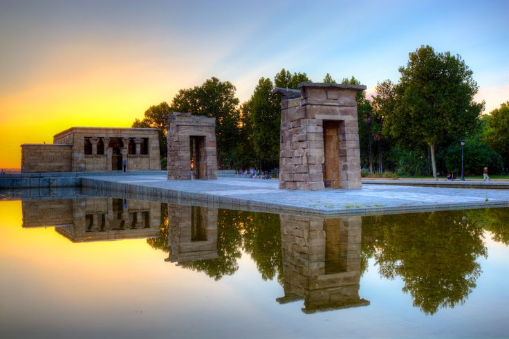 Templo de Debod (Temple of Debod, 200 BC). Ancient Egyptian temple which was dismantled and rebuilt in Madrid, Spain. As a sign of gratitude for the help provided by Spain in saving the temples of Abu Simbel, the Egyptian state donated the temple of Debod to Spain in 1968. The temple was rebuilt in one of Madrid's parks, the Parque del Oeste, near the Royal Palace of Madrid, and opened to the public in 1972.