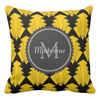 Yellow Throw Pillows | Pretty Throw Pillows | Yellow and black art deco monogram throw pillow